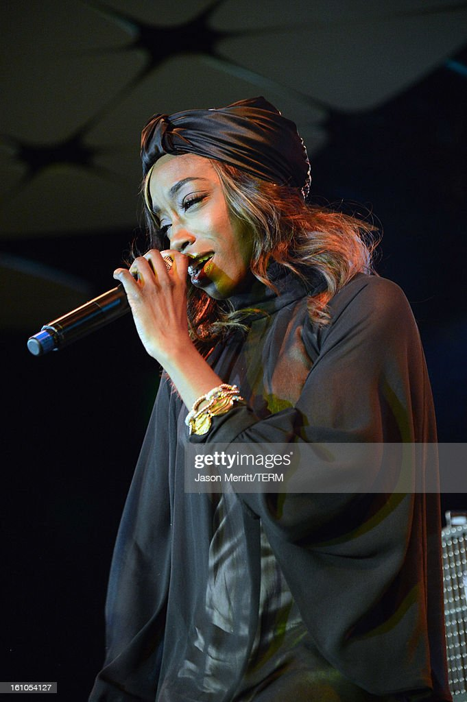 Singer Estelle performs during mPowering Action, a global mobile youth movement at Grammy Week launch, featuring performances by Timbaland and Avicii at The Conga Room at L.A. Live on February 8, 2013 in Los Angeles, California.