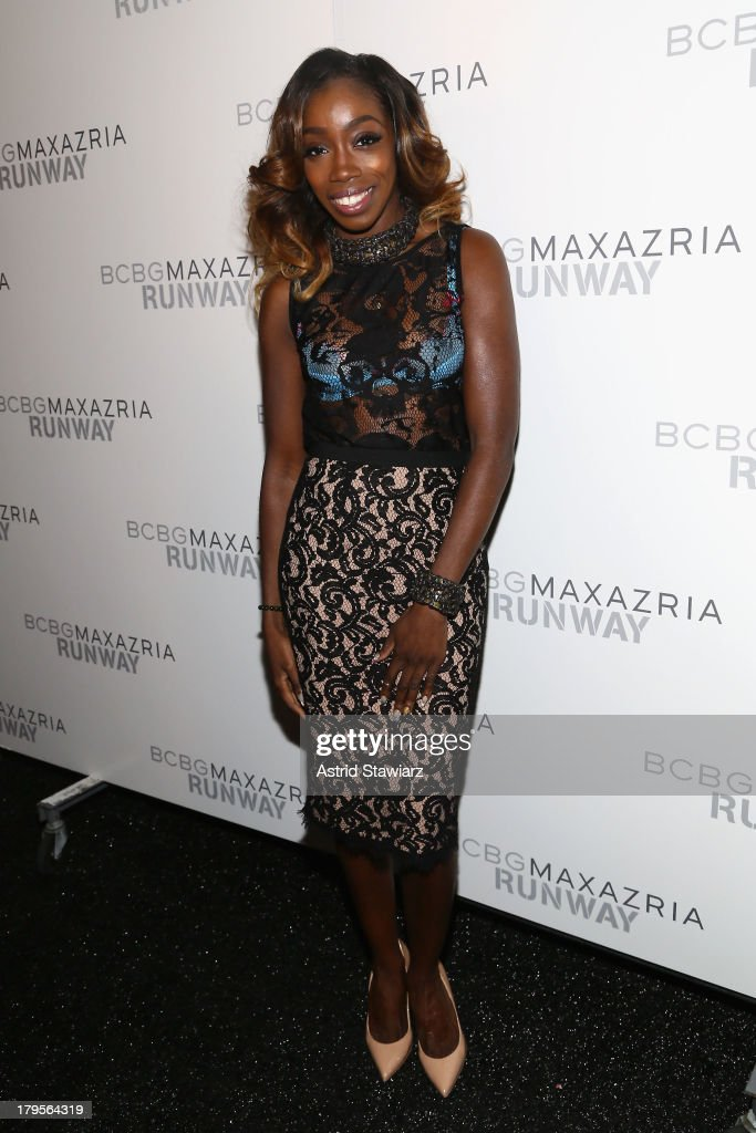 Singer <a gi-track='captionPersonalityLinkClicked' href=/galleries/search?phrase=Estelle+-+Singer&family=editorial&specificpeople=206205 ng-click='$event.stopPropagation()'>Estelle</a> poses backstage at the BCBGMAXAZRIA Spring 2014 fashion show during Mercedes-Benz Fashion Week at The Theatre at Lincoln Center on September 5, 2013 in New York City.
