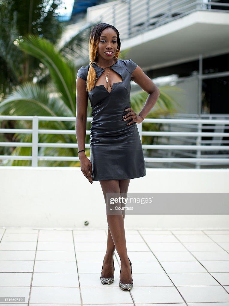 Singer Estelle poses during the 2013 American Black Film Festival on June 21, 2013 in Miami, Florida.