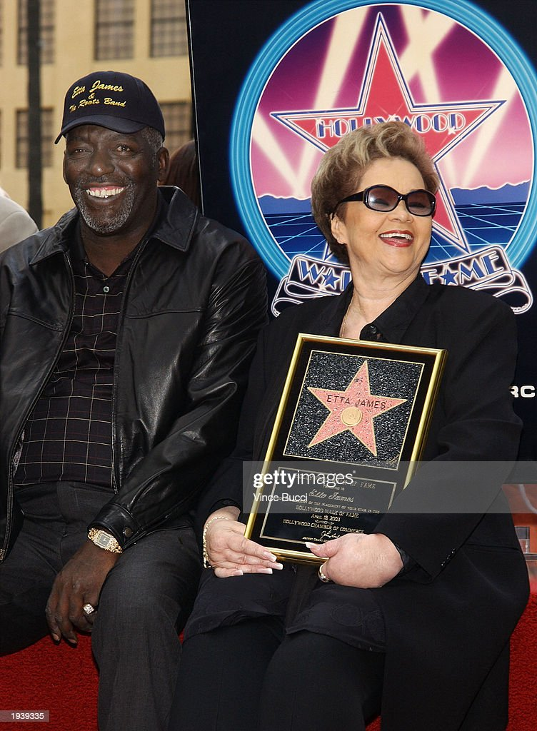 Singer Etta James (R) displays her star on the Hollywood Walk of Fame with her husband, Artist Mills (L), during a ceremony in her honor April 18, 2003 in Hollywood, California.