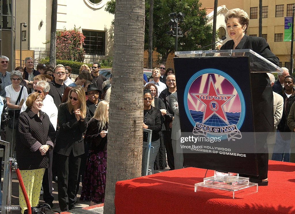Singer Etta James speaks during a ceremony honoring her with a star on the Hollywood Walk of Fame April 18, 2003 in Hollywood, California.
