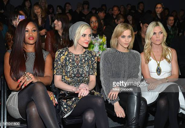 Singer Eve Ashlee Simpson Leigh Lezark and Tinsley Mortimer attend the Nicole Miller Fall 2013 fashion show during MercedesBenz Fashion Week at The...