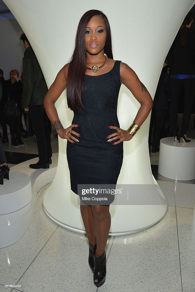 Singer Eve at the Elie Tahari Fall 2013 fashion show presentation during Mercedes-Benz Fashion Week at The Studio at Lincoln Center on February 12, 2013 in New York City.