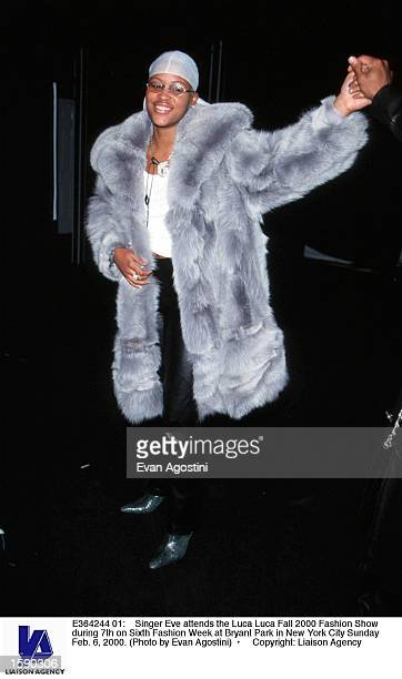 Singer Eve attends the Luca Luca Fall 2000 Fashion Show during 7th on Sixth Fashion Week at Bryant Park in New York City Sunday Feb 6 2000