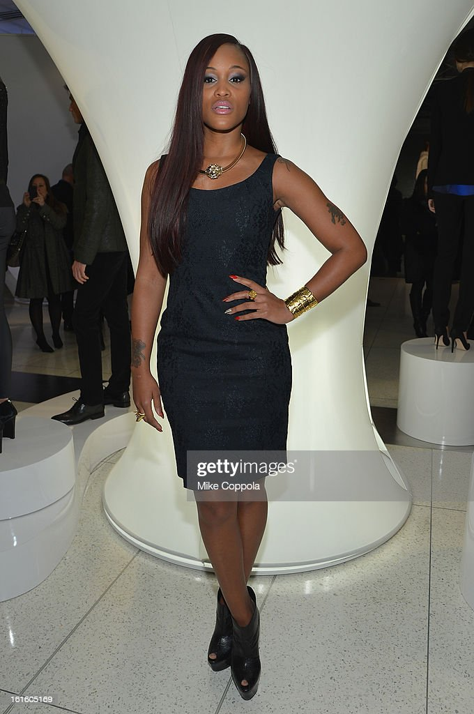 Singer Eve poses at the Elie Tahari Fall 2013 fashion show presentation during Mercedes-Benz Fashion Week at The Studio at Lincoln Center on February 12, 2013 in New York City.