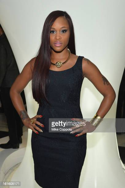 Singer Eve poses at the Elie Tahari Fall 2013 fashion show presentation during MercedesBenz Fashion Week at The Studio at Lincoln Center on February...