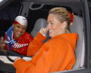 Singer Eve sports her patriotic colors as a friend speaks on her mobile phone while shopping on Madison Avenue October 10 2001 in New York City