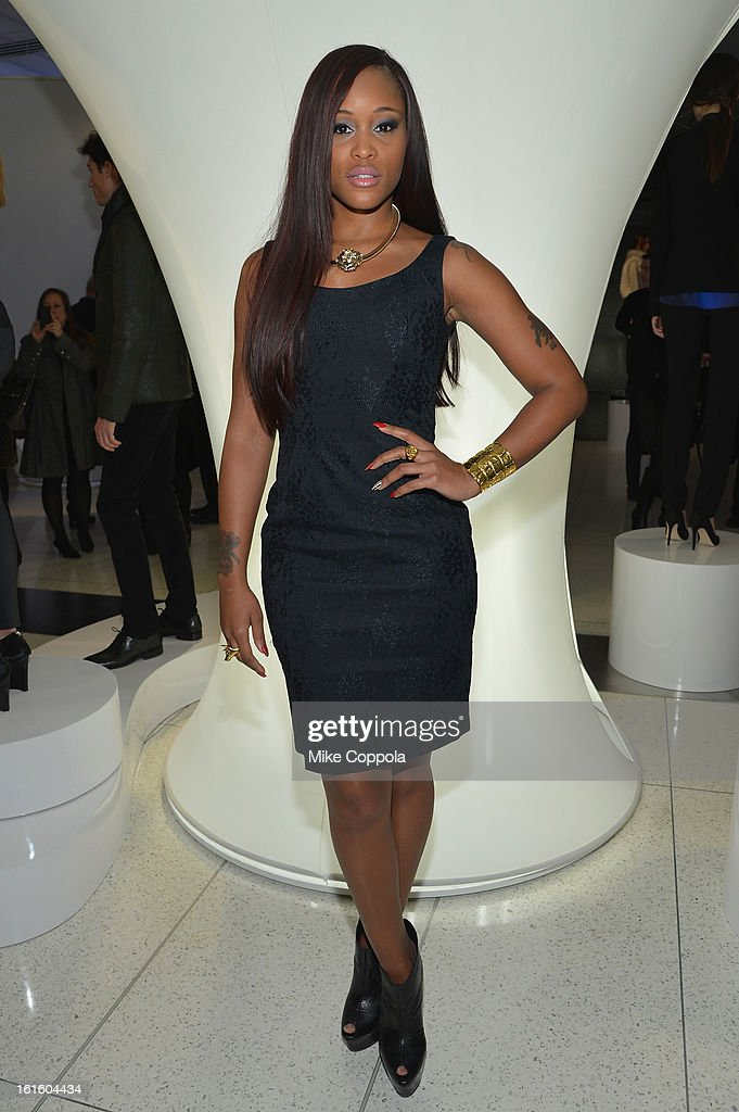 Singer Ever at the Elie Tahari Fall 2013 fashion show presentation during Mercedes-Benz Fashion Week at The Studio at Lincoln Center on February 12, 2013 in New York City.