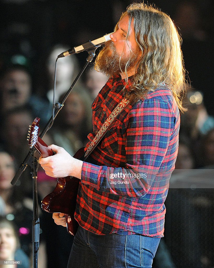 Singer Ewan Currie of The Sheepdogs performs on stage at the 2013 Juno Awards held at the Brandt Centre on April 21, 2013 in Regina, Canada.