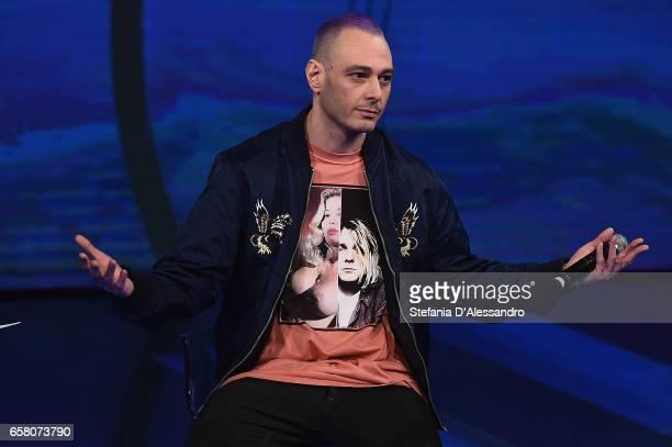 Singer Fabri Fibra attends 'Che Tempo Che Fa' tv show on March 26 2017 in Milan Italy