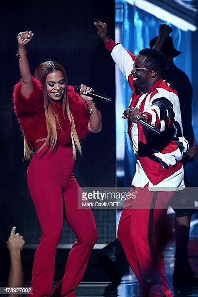 Singer Faith Evans and mogul Diddy perform onstage during the 2015 BET Awards at the Microsoft Theater on June 28 2015 in Los Angeles California