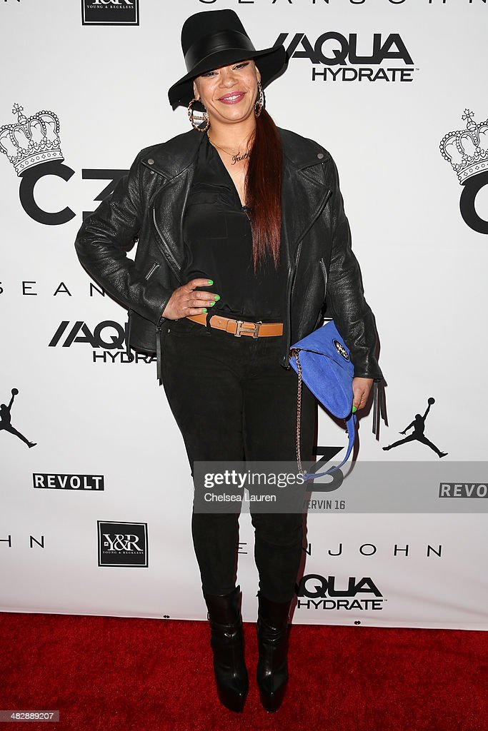 Singer Faith Evans arrives at Christian Casey Combs' 16th birthday party at 1OAK on April 4, 2014 in West Hollywood, California.