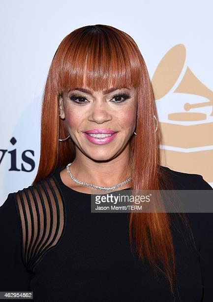 Singer Faith Evans attends the PreGRAMMY Gala and Salute To Industry Icons honoring Martin Bandier at The Beverly Hilton Hotel on February 7 2015 in...
