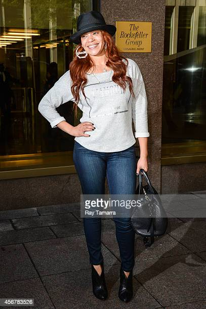 Singer Faith Evans leaves the Sirius XM Studios on October 6 2014 in New York City