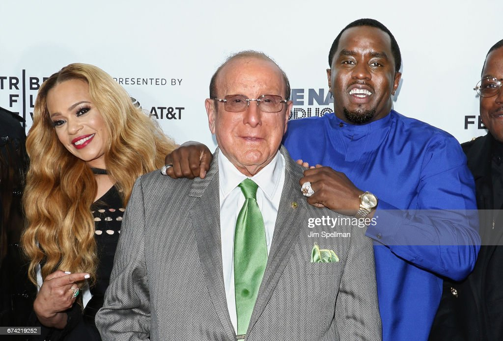 Singer Faith Evans, music producer Clive Davis and rapper/actor Sean Combs attend the world premiere of 'Can't Stop, Won't Stop: A Bad Boy Story' co-supported by Deleon Tequila during the 2017 Tribeca Film Festiva at Beacon Theatre on April 27, 2017 in New York City.
