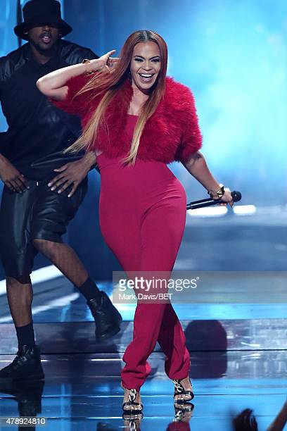 Singer Faith Evans performs onstage during the 2015 BET Awards at the Microsoft Theater on June 28 2015 in Los Angeles California