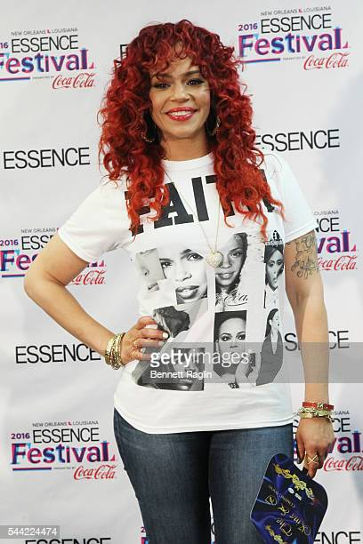 Singer Faith Evans poses for a photo backstage during the 2016 ESSENCE Festival presented by Coca Cola at the Louisiana Superdome on July 1 2016 in...