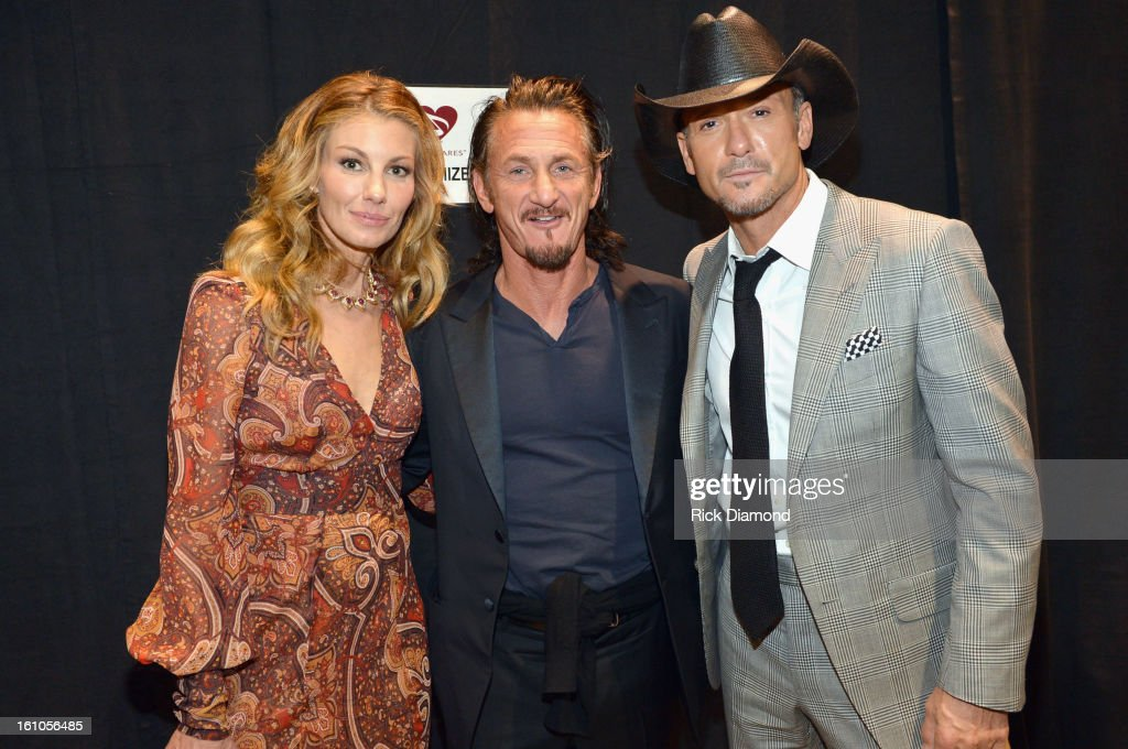 Singer <a gi-track='captionPersonalityLinkClicked' href=/galleries/search?phrase=Faith+Hill&family=editorial&specificpeople=175933 ng-click='$event.stopPropagation()'>Faith Hill</a>, actor <a gi-track='captionPersonalityLinkClicked' href=/galleries/search?phrase=Sean+Penn&family=editorial&specificpeople=202979 ng-click='$event.stopPropagation()'>Sean Penn</a> and singer <a gi-track='captionPersonalityLinkClicked' href=/galleries/search?phrase=Tim+McGraw&family=editorial&specificpeople=202845 ng-click='$event.stopPropagation()'>Tim McGraw</a> attend MusiCares Person Of The Year Honoring Bruce Springsteen at the Los Angeles Convention Center on February 8, 2013 in Los Angeles, California.