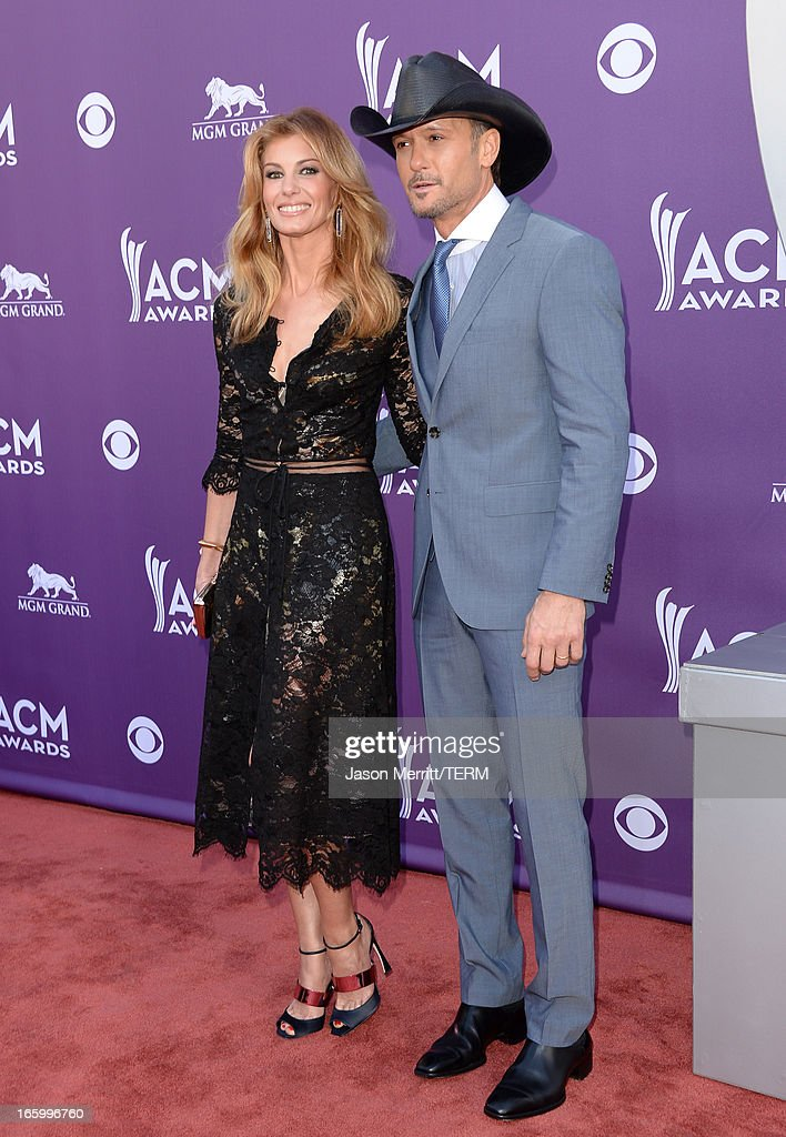 Singer Faith Hill and Recording artist Tim McGraw arrive at the 48th Annual Academy of Country Music Awards at the MGM Grand Garden Arena on April 7, 2013 in Las Vegas, Nevada.