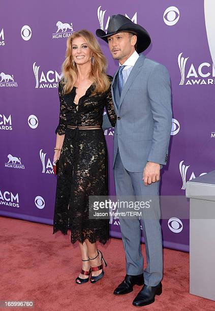 Singer Faith Hill and Recording artist Tim McGraw arrive at the 48th Annual Academy of Country Music Awards at the MGM Grand Garden Arena on April 7...