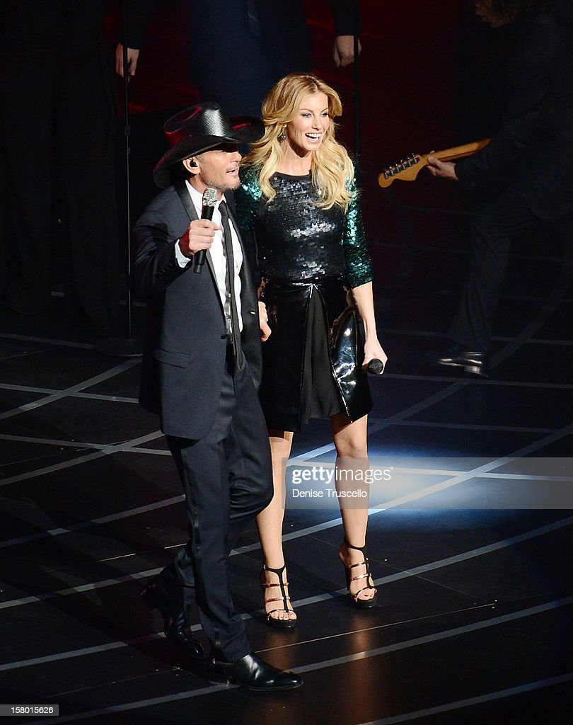 Singer Faith Hill (R) and singer/songwriter Tim McGraw perform during the opening weekend of their limited-engagement 'Soul2Soul' show at The Venetian on December 8, 2012 in Las Vegas, Nevada. The country music couple is scheduled to perform on 10 weekends through April 2013. at Venetian Hotel and Casino Resort on December 8, 2012 in Las Vegas, Nevada.