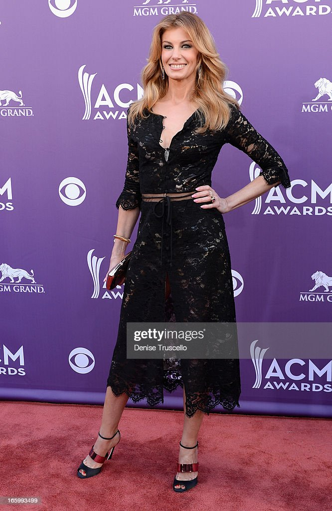 Singer Faith Hill arrives at the 48th Annual Academy of Country Music Awards at the MGM Grand Garden Arena on April 7, 2013 in Las Vegas, Nevada.
