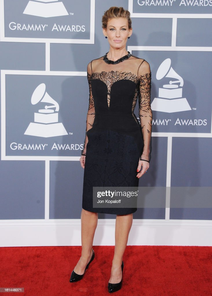 Singer Faith Hill arrives at The 55th Annual GRAMMY Awards at Staples Center on February 10, 2013 in Los Angeles, California.