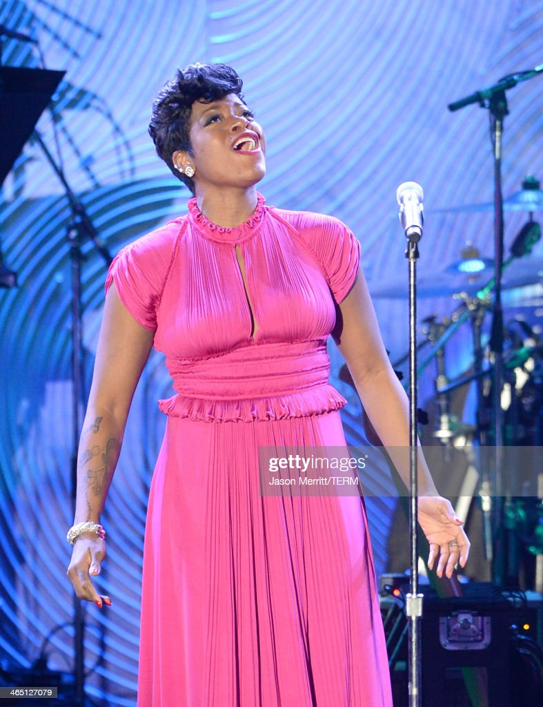 Singer <a gi-track='captionPersonalityLinkClicked' href=/galleries/search?phrase=Fantasia+Barrino&family=editorial&specificpeople=171386 ng-click='$event.stopPropagation()'>Fantasia Barrino</a> performs onstage during the 56th annual GRAMMY Awards Pre-GRAMMY Gala and Salute to Industry Icons honoring Lucian Grainge at The Beverly Hilton on January 25, 2014 in Los Angeles, California.
