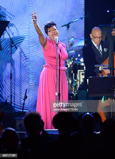 Singer Fantasia Barrino performs onstage during the 56th annual GRAMMY Awards PreGRAMMY Gala and Salute to Industry Icons honoring Lucian Grainge at...