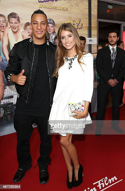 Singer Farid Bang and Cathy Hummels during the world premiere of 'Fack ju Goehte 2' at Mathaeser Kino on September 7 2015 in Munich Germany
