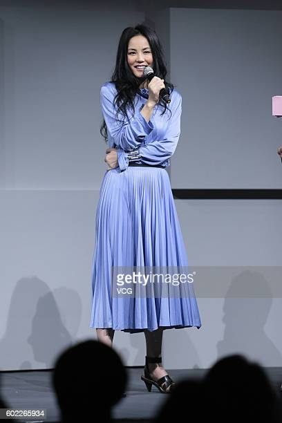 Singer Faye Wong attends a press conference for her concert on September 9 2016 in Beijing China