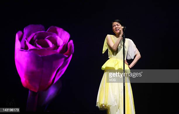 Singer Faye Wong performs on stage at the Xiamen International Conference and Exhibition Center on April 20 2012 in Guangzhou China
