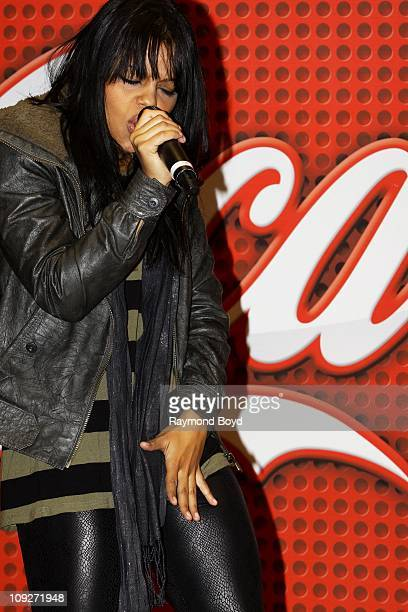 Singer Fefe Dobson performs at the KISSFM 'CocaCola Lounge' in Chicago Illinois on FEB 16 2011