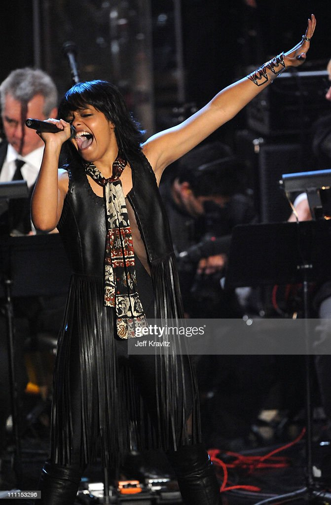 Singer Fefe Dobson performs onstage at the 25th Annual Rock and Roll Hall of Fame Induction Ceremony at the Waldorf=Astoria on March 15, 2010 in New York City.