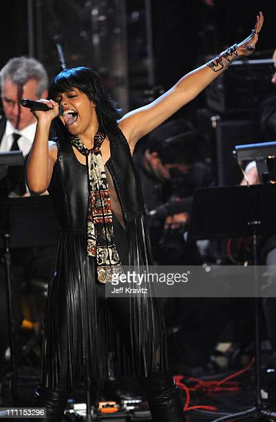 Singer Fefe Dobson performs onstage at the 25th Annual Rock and Roll Hall of Fame Induction Ceremony at the Waldorf=Astoria on March 15 2010 in New...