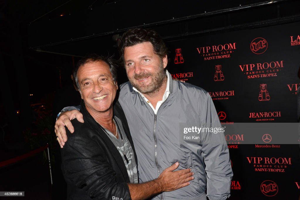 Singer Felix Gray and actor director Philippe Lellouche attend the DJ Canitrot Party VIP Room Saint Tropez July 28, 2014 in Saint Tropez, France.
