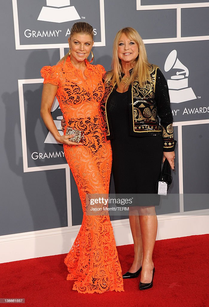 Singer Fergie (L) and Theresa Ann Ferguson arrive at the 54th Annual GRAMMY Awards held at Staples Center on February 12, 2012 in Los Angeles, California.