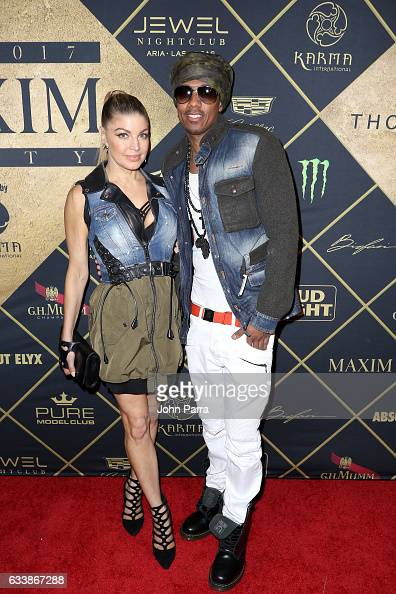 Singer Fergie and TV personality Nick Cannon arrive at the Maxim Super Bowl Party on February 5 2017 in Houston Texas