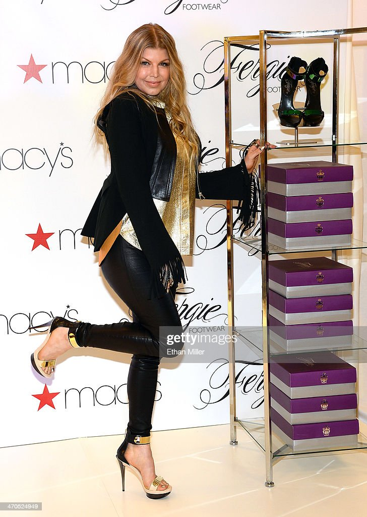 Singer <a gi-track='captionPersonalityLinkClicked' href=/galleries/search?phrase=Fergie+Duhamel&family=editorial&specificpeople=171894 ng-click='$event.stopPropagation()'>Fergie Duhamel</a> appears at Macy's at the Fashion Show mall to promote her Fergie Footwear collection on February 19, 2014 in Las Vegas, Nevada.
