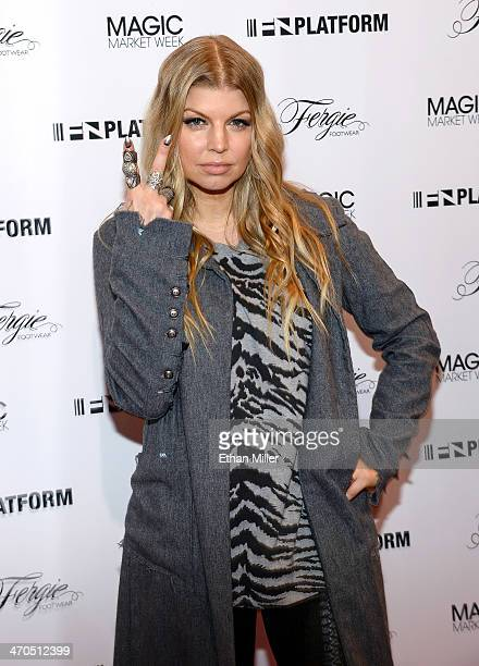 Singer Fergie Duhamel promotes her Fergie Footwear collection during MAGIC Market Week at the Las Vegas Convention Center on February 19 2014 in Las...