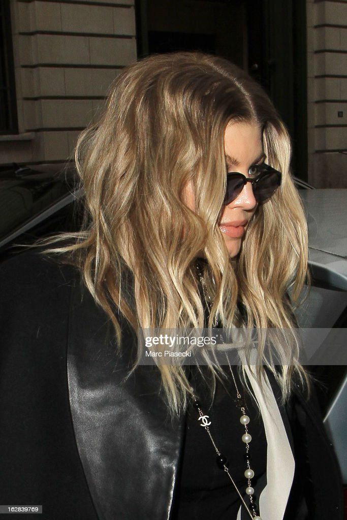 Singer Fergie is sighted arriving at the 'Rick Owens' store on February 28, 2013 in Paris, France.