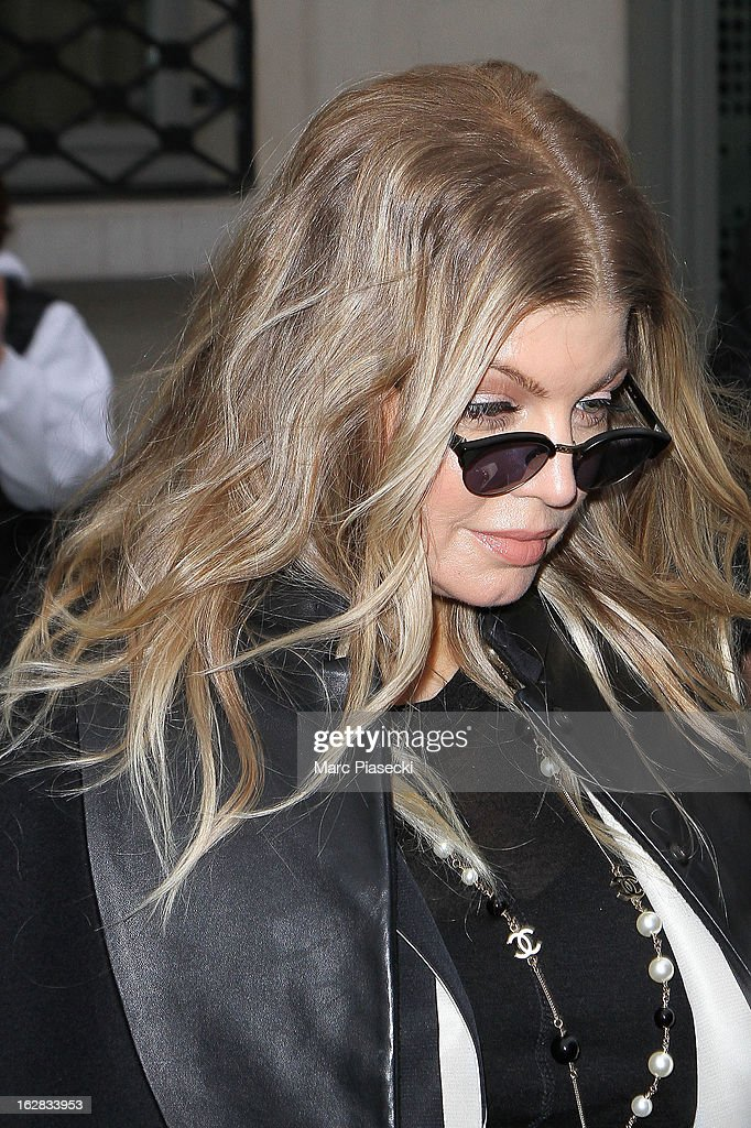 Singer Fergie (shoe detail) is sighted leaving her hotel on February 28, 2013 in Paris, France.