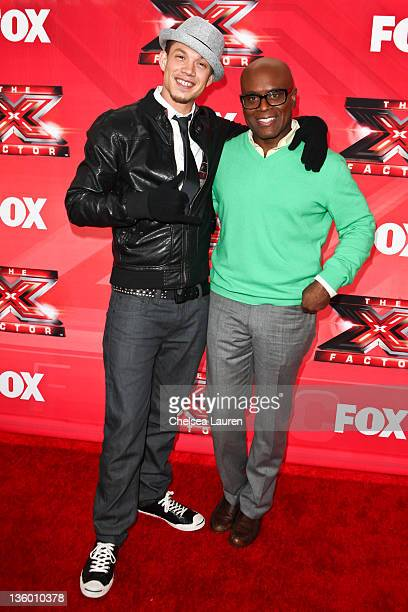 Singer / finalist Chris Rene and television personality / producer LA Reid arrive at 'The X Factor' press conference at CBS Television City on...