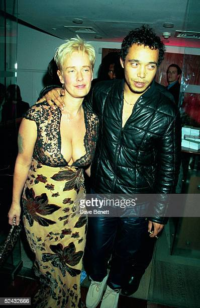 Singer Finley Quaye and TV presenter Paula Yates at the UK movie premiere of 'Rogue Trader ' held on Juner 22 1999 in London