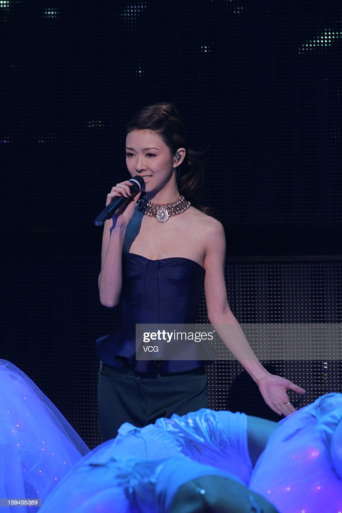 Singer Fiona Sit attends the 2012 Jade Solid Gold Best Ten Music Awards Presentation at TVB City on January 13, 2013 in Hong Kong, Hong Kong.