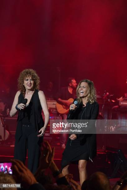 Singer Fiorella Mannoia and singersongwriter Irene Grandi performing during Amiche in Arena a concert against femicide and violence against women...