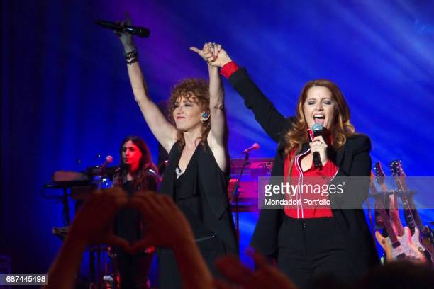 Singer Fiorella Mannoia and singersongwriter Noemi performing during Amiche in Arena a concert against femicide and violence against women conceived...