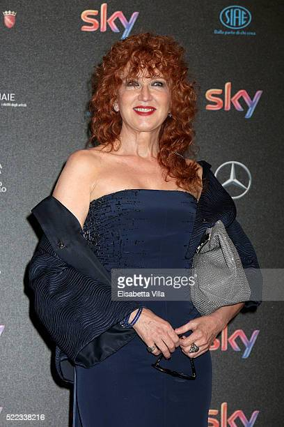 Singer Fiorella Mannoia arrives at the 60 David di Donatello ceremony on April 18 2016 in Rome Italy