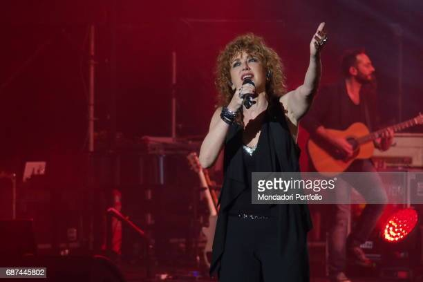 Singer Fiorella Mannoia performing during Amiche in Arena a concert against femicide and violence against women conceived by Loredana Berte on the...
