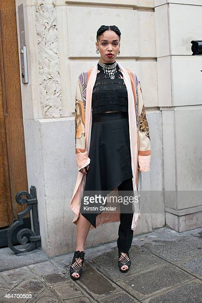Singer FKA Twigs wears a vintage kimono Jean Paul Gaultier dress and jewellery Nicholas Kirkwood shoes on day 3 of Paris Haute Couture Fashion Week...